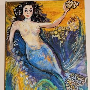 Wendy Gell Art Mermaid in the sea with shell